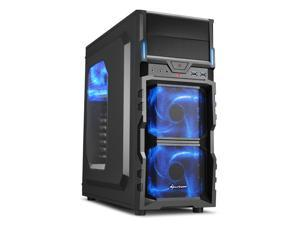 "SHARKOON VG5-W Blue Steel / Plastic ATX Mid Tower Gaming PC Case, 3x120mm LED Cooling Fan Pre-Installed, 2xUSB3.0, Max: 15.16"" VGA Length, Max: 6.3"" CPU Cooler Height"