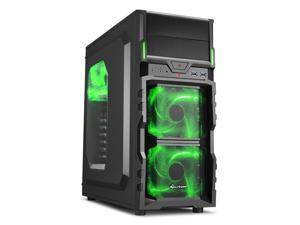 "SHARKOON VG5-W Green Steel / Plastic ATX Mid Tower Gaming PC Case, 3x120mm LED Cooling Fan Pre-Installed, 2xUSB3.0, Max: 15.16"" VGA Length, Max: 6.3"" CPU Cooler Height"