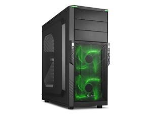 "SHARKOON T3-W Green Steel / Plastic ATX Mid Tower Gaming PC Case, 2x120mm LED Cooling Fan Pre-Installed, 2xUSB3.0, Max: 15.16"" VGA Length, Max: 6.3"" CPU Cooler Height"