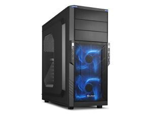 "SHARKOON T3-W Blue Steel / Plastic ATX Mid Tower Gaming PC Case, 2x120mm LED Cooling Fan Pre-Installed, 2xUSB3.0, Max: 15.16"" VGA Length, Max: 6.3"" CPU Cooler Height"