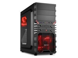 "SHARKOON VG4-W Red Steel / Plastic ATX Mid Tower Gaming PC Case, 2x120mm LED Cooling Fan Pre-Installed, 2xUSB3.0, Max: 15.16"" VGA Length, Max: 6.3"" CPU Cooler Height"