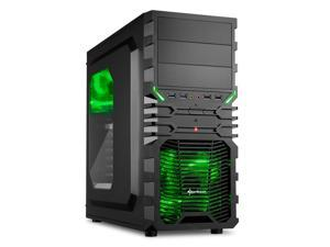 "SHARKOON VG4-W Green Steel / Plastic ATX Mid Tower Gaming PC Case, 2x120mm LED Cooling Fan Pre-Installed, 2xUSB3.0, Max: 15.16"" VGA Length, Max: 6.3"" CPU Cooler Height"