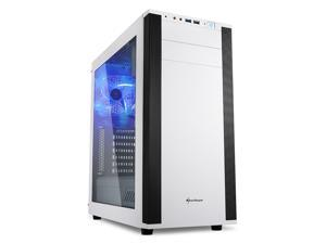 "SHARKOON M25-W White Steel / Plastic ATX Mid Tower Gaming PC Case,7.1 USB Sound Card Integrated, 3x120mm Cooling Fan Pre-Installed,Support up to 280mm Water Cooling Installation, Max:15.75"" VGA Length"