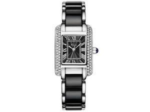 KIMIO Women's Watch Imitation Ceramics Rhinestone Elegant KW6036 Black
