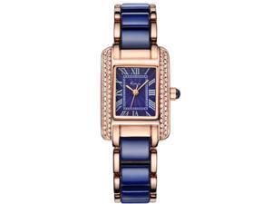 KIMIO Women's Watch Imitation Ceramics Rhinestone Elegant KW6036 Blue