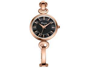 KIMIO Women's Bracelet Watch Elegant Concise Fashion Type KW6103 Rose Gold With Black