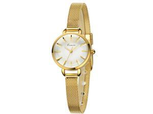 KIMIO Women's Watch Buckle Concise High Quality Alloy KW6020 Gold Case White Dail