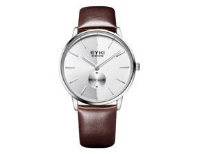 EYKI Mens Quartz Watches Leather Strap Stylish Casual Watch EW1026 Brown White