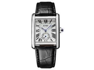 EYKI Mens Sports Casual Wrist Watches Leather Strap Rectangle Dial Fashion Watch EW8865 Black