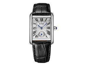 EYKI Womens  Sports Casual Wrist Watches Leather Strap Rectangle Dial Fashion Watch EW8865 Black