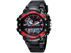 OHSEN Mens Digital Sports Wrist Watches Date Chronograph Good Quality Watch OW1506 Red