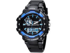OHSEN Mens Digital Sports Wrist Watches Date Chronograph Good Quality Watch OW1506 Dark Blue