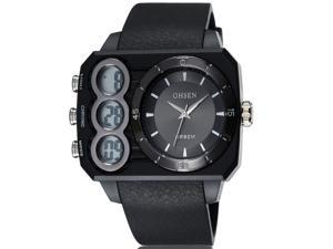 OHSEN Mens Sports Wrist Watches Date Stopwatch Anolog Display Alarm Watch OW1503 Black