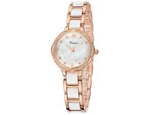 KIMIO Womens Luxury Business Quartz Watch Rhinestone Inlay Fashion Watch KW6016 Gold White