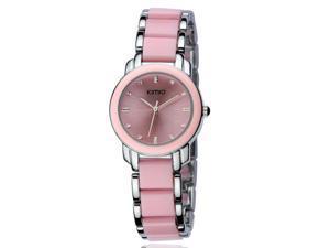 KIMIO Ladies Luxuxry Bracelet Watches Fashion Imitation Ceramic Resin Strap Round Dial Watch KW455 Pink