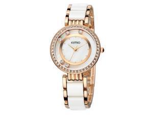 KIMIO Womens Quartz Anolog Display Wrist Watches Rhinestone Luxury Fashion Watch KW485 Black White