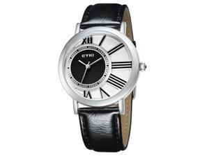 EYKI Womens Luxury Wrist Watches PU Leather Round Dial Stylish Quartz Movement Watch EW8811 White