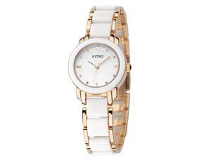 KIMIO Ladies Luxuxry Bracelet Watches Fashion Imitation Ceramic Resin Strap Round Dial Watch KW455 Gold White