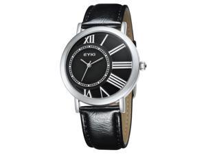 EYKI Womens Luxury Wrist Watches PU Leather Round Dial Stylish Quartz Movement Watch EW8811 Black