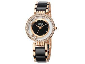 KIMIO Womens Quartz Anolog Display Wrist Watches Rhinestone Luxury Fashion Watch KW485 Gold Black