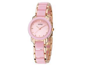 KIMIO Ladies Luxuxry Bracelet Watches Fashion Imitation Ceramic Resin Strap Round Dial Watch KW455 Gold Pink