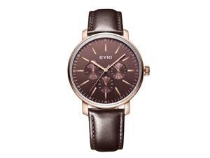EYKI Mens Sports Casual Watches Good Quality Leather Strap Anolog Display Watches EW1046G Brown Face
