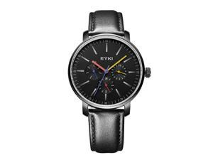 EYKI Mens Sports Casual Watches Good Quality Leather Strap Anolog Display Watches EW1046G Black