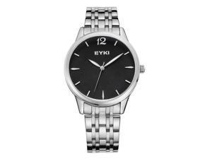 EYKI Mens Sports Quartz Watch Anolog Display Stainless Steel Luxury Watch EW8853 Black