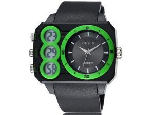 OHSEN Mens Sports Wrist Watches Date Stopwatch Anolog Display Alarm Watch OW1503 Green