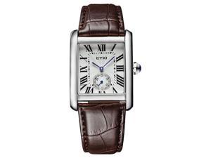 EYKI Mens Sports Casual Wrist Watches Leather Strap Rectangle Dial Fashion Watch EW8865 Brown