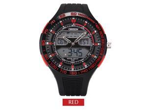 OHSEN Mens Sports Casual Watches Date Day Alarm Display Alarm Watch OW2803 Red
