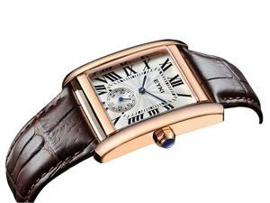 EYKI Mens Sports Casual Wrist Watches Leather Strap Rectangle Dial Fashion Watch EW8865 Gold