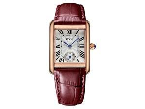EYKI Womens Sports Casual Wrist Watches Leather Strap Rectangle Dial Fashion Watch EW8865 Red