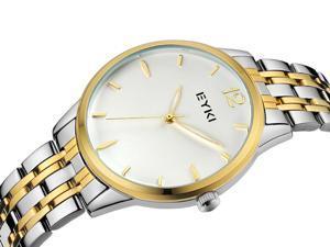 EYKI Womens Sports Quartz Watch Anolog Display Stainless Steel Luxury Watch EW8853 Gold