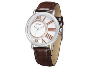 EYKI Womens Luxury Wrist Watches PU Leather Round Dial Stylish Quartz Movement Watch EW8811 Brown