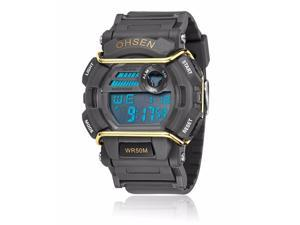 OHSEN Mens Sports Digital LCD Wrist Watches Fashion Casual Watch OW1602 Black