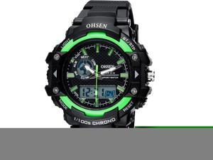 OHSEN Mens Digital Sports Wrist Watches Date Chronograph Good Quality Watch OW1506 Green
