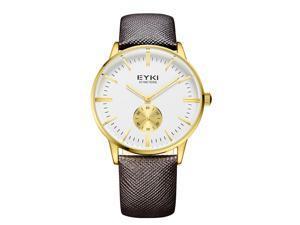 EYKI Mens Sports Wrist Watches Quartz Business Luxury Fahsion Watch EW1030 Brown Gold