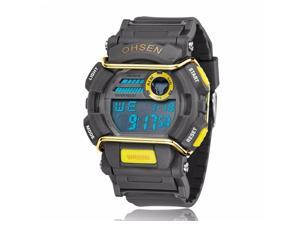 OHSEN Mens Sports Digital LCD Wrist Watches Fashion Casual Watch OW1602 Yellow