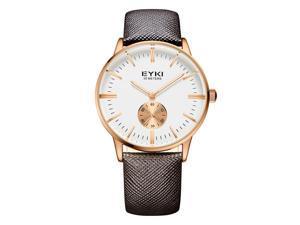 EYKI Mens Sports Wrist Watches Quartz Business Luxury Fahsion Watch EW1030 Brown Rose Gold