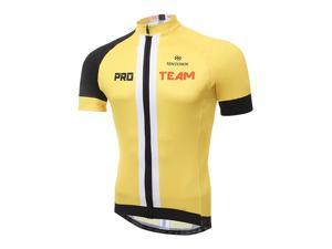XINTOWN Cycling Jerseys Summer Short Sleeve Polyester Mesh Breathable Tops Tee Yellow
