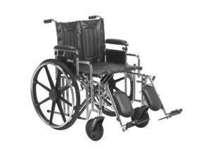 """Sentra Extra Heavy Duty Wheelchair, Detachable Adjustable Height Desk Arms, Elevating Leg Rests, 22"""" Seat"""