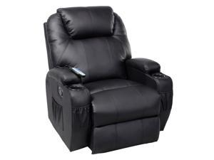 Massage Recliner Sofa Chair Deluxe Ergonomic Lounge Heated w/ Control Black