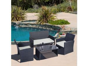 4 PC Rattan Patio Furniture Set Garden Lawn Sofa Black Wicker Cushioned Seat