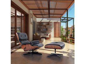 Modern Wood Eames Style Lounge Chair & Ottoman Set Armchair