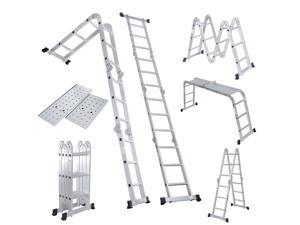 GoPlus Corp Folding Ladder 12.5FT EN131 Aluminum Folding Step Extension Multifunction - TL28967 Silver