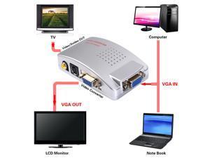 VGA to TV RCA Composite Converter Adapter S-video Box for PC Laptop Windows Mac