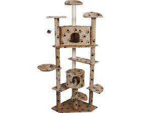 "Beige Paws 80"" Cat Tree Condo Furniture Scratch Post Pet House"