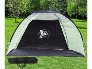 10' Golf Practice Driving Hit Net Cage Training Mat Aid Driver Irons w/ Free Bag