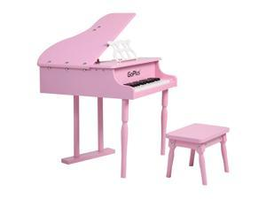 Childs 30 key Toy Grand Baby Piano w/ Kids Bench Wood Pink